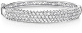 Ice 3 CT TW Cubic Zirconia Sterling Silver Hinged Bangle Bracelet