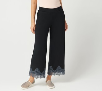 Logo By Lori Goldstein LOGO Lounge by Lori Goldstein Jersey Wide-Leg Pull-On Pant with Lace