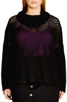 City Chic Open Stitch Cowl Neck Sweater (Plus Size)