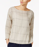 Eileen Fisher Organic Linen Printed Box Top