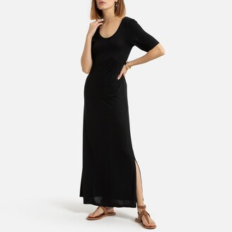 La Redoute Collections Flared Maxi T-Shirt Dress with Short Sleeves