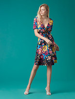 Diane von Furstenberg Short Sleeve Flared Wrap Dress