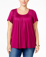 Style&Co. Style & Co. Plus Size Short-Sleeve Pleated Top