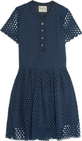 Sea Pleated broderie anglaise cotton mini dress