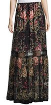 Roberto Cavalli Galaxy Garden-Print Tiered Maxi Skirt, Red/Black