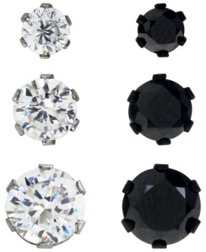 Sutton by Rhona Sutton Sutton Stainless Steel Two-Tone Cubic Zirconia Stud Earrings Set Of 3 Pairs