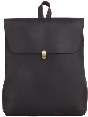 Touri Handmade Worn Look Genuine Leather Slim Backpack In Dark Chocolate
