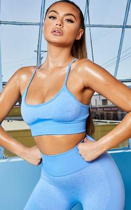 PrettyLittleThing Blue Seamless Long Line Sports Bra Top