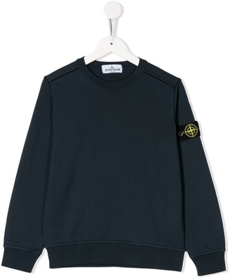 Stone Island Junior Long Sleeve Logo Patch Sweater