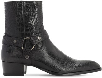 Saint Laurent 40mm Wyatt Embossed Leather Cropped Boot