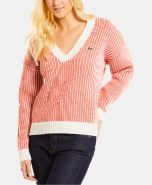 Lacoste Wool Striped V-Neck Sweater