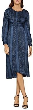BCBGMAXAZRIA Snakeskin Print Blouson Midi Dress