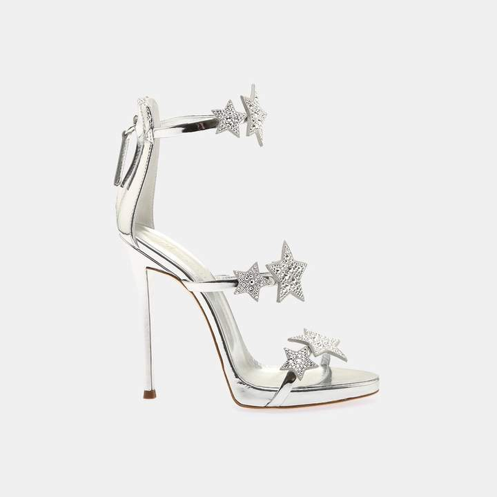 Giuseppe Zanotti Star Metallic Leather Stiletto Heel