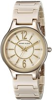 Anne Klein Women's AK/2182TNGB Glitter Accented Gold-Tone and Tan Ceramic Bracelet Watch