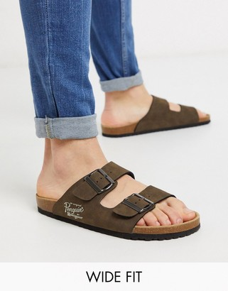 Original Penguin wide fit buckle sandal in brown
