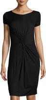 Three Dots Knot-Front Jersey Dress, Black
