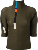 Issey Miyake colour block pleated top - women - Polyester - One Size