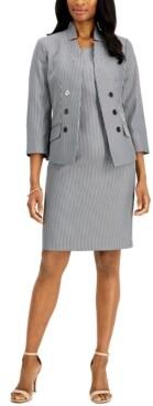 Le Suit Star-Collar Striped Dress Suit