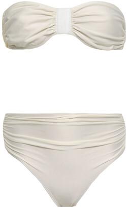 Adriana Degreas Faux Leather-trimmed Ruched Bandeau Bikini