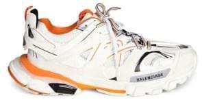 Balenciaga Men's Track Low-Top Sneakers - White Orange - Size 39 (6) E