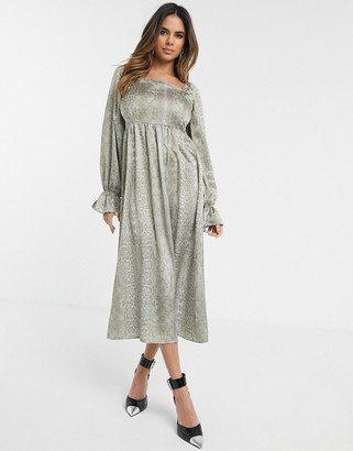 UNIQUE21 Unique 21 square neck midi dress in snake print