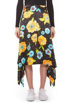 Topshop Floral Handkerchief Hem Silk Skirt