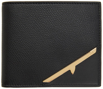 Fendi Black and Gold Corner Mono Eye Billfold Wallet