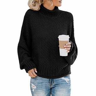 Daytwork Sweater Casual Tops Pullover - Women's Turtleneck Long Sleeves Chunky Knit Pullover Sweater Batwing Jumper Thick Solid Color Tops Black