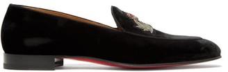 Christian Louboutin Crest On The Nile Velvet Loafers - Mens - Black