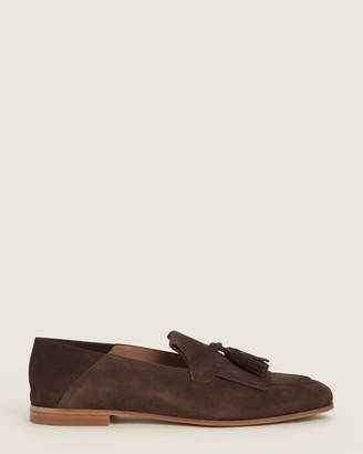 Salvatore Ferragamo Dark Brown Arizona Suede Loafers
