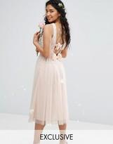 Maya Embellished Midi Dress with Double Bow