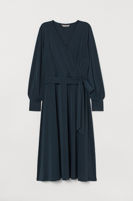 H&M Creped Wrap-front Dress - Turquoise