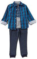Nautica Little Boys 2T-4T Plaid Woven Shirt, Knit Tee & Woven Jogger Pants Set