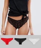 Asos 3 Pack Pretty Lace Brazilian Pants