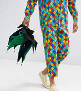 Reclaimed Vintage Halloween Inspired Relaxed Pants In Harlequin Print