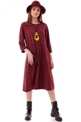 AIMELIA Trendy Wine oversize cotton tunic