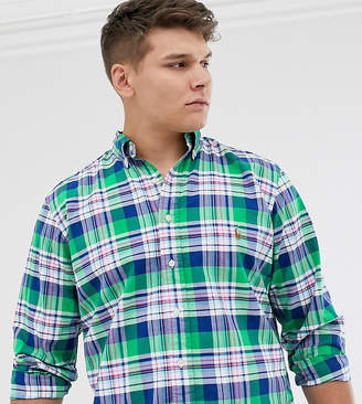 Big & Tall player logo check oxford button down shirt in green