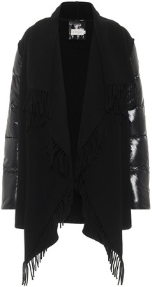 Moncler Wool-trimmed caped down jacket