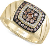 Effy Men's Brown and White Diamond Ring (5/8 ct. t.w.) in 14k Gold