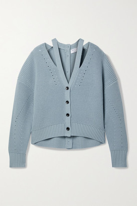 Proenza Schouler White Label Cutout Ribbed Pointelle-knit Wool Cardigan - Light blue