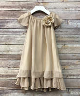 Precious Kids Girls' Casual Dresses Champagne - Champagne Flower Shift Dress - Toddler