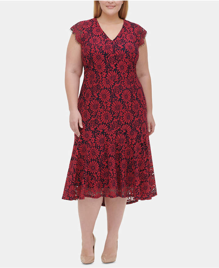 Plus Size Floral Lace Midi Dress