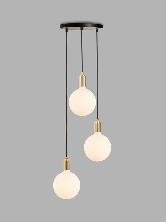 Tala Brass Triple Pendant Ceiling Light with Sphere IV ES LED Dim to Warm Globe Bulbs