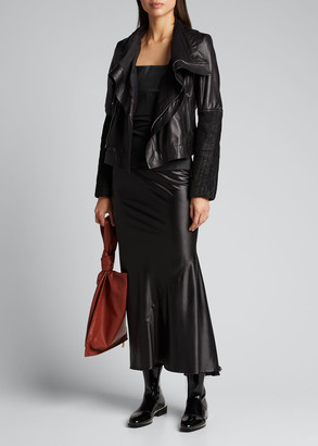 Rick Owens Contrast Liquid Latex Flounce Skirt