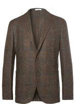 Boglioli Brown Unstructured Checked Woven Blazer