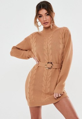 Missguided Camel Belted Cable Knit Dress