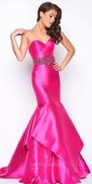 Mac Duggal Ruffle Tiered Strapless Mermaid Prom Dress