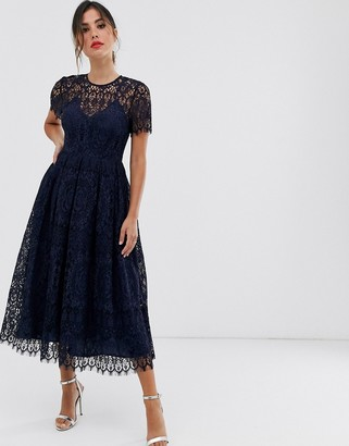 Asos Design DESIGN lace midi dress with ribbon tie and open back-Navy