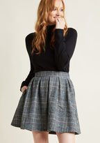 ModCloth Plaid High-Waisted Mini Skirt with Pockets in M