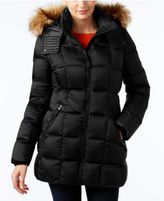Andrew Marc Faux-Fur-Trim Hooded Quilted Down Coat